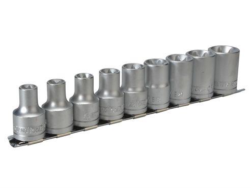 Teng Tools M1210 Socket Clip Rail Set of 9 External Torx 1/2in Drive