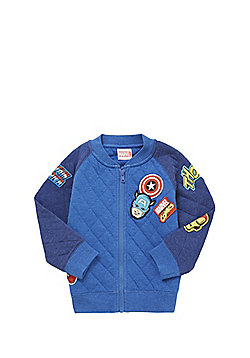 Marvel Comics Embroidered Badge Jersey Bomber Jacket - Blue