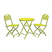 Cafe Espresso Apple Green Folding Mesh Garden Bistro Set