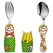 Kiddos Eat 4 Fun 2 Piece Fork and Spoon Children's Cutlery Set with Holders in Mermaid Design K8624-03