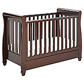 Babymore Eva Sleigh Cot Bed Dropside with Drawer (Brown)