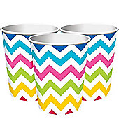Rainbow Chevron Party Cups - 256ml Paper