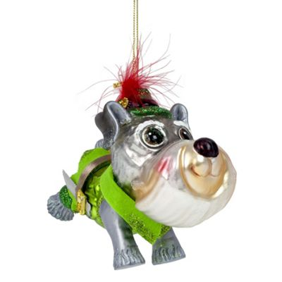 Peter Pan Dog Glass Christmas Tree Bauble