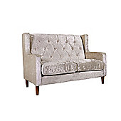 Oxford 2 Seater Sofa in Crushed Velvet Gold Buttoned High Back