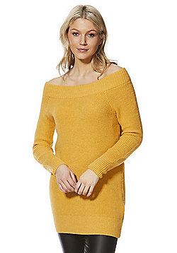 F&F Rib Knit Bardot Tunic - Mustard yellow
