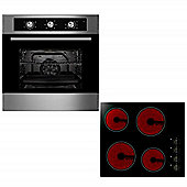 Oven & Hob Pack COF600SS CEK600 | Cookology 60cm Built-in Electric Fan Oven & Knob Control Ceramic Hob Pack