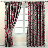 "Homescapes Pink and Silver Jacquard Curtain Abstract Ikat Design Fully Lined - 66"" X 90"" Drop"