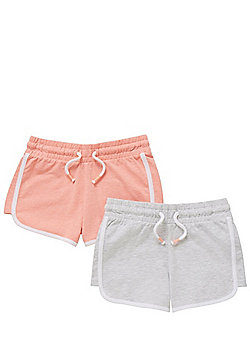 F&F 2 Pack of Jersey Shorts - Coral/Grey
