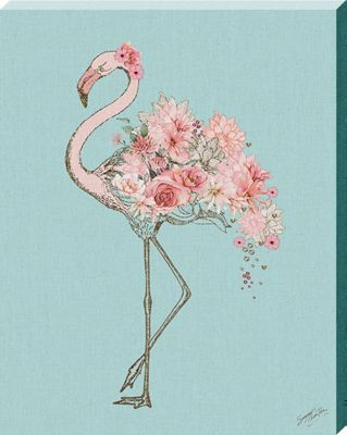 Summer Thornton Floral Flamingo Canvas Print 40 x 50 x 3.8cm