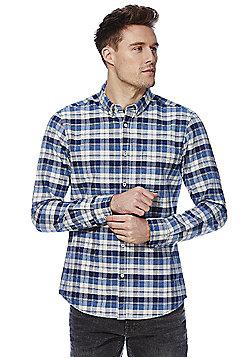 F&F Indigo Yarn Checked Shirt - Blue