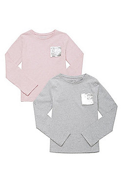 F&F 2 Pack of Sequin Pocket Long Sleeve T-Shirts - Pink & Grey