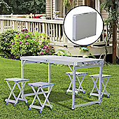 Outsunny Folding Picnic Table Chairs Set Hiking Camping Portable 4 Seat Aluminium - Silver