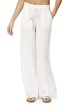 F&F Crinkle Wide Leg Beach Trousers - White
