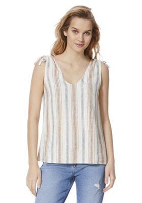 F&F Linen-Blend Striped Tie Shoulder Top Multi 10