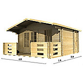 4m x 3m (13ft x 10ft) Amersham Home Office Log Cabin Wooden Log Cabin Double Glazing (34mm Wall Thickness)