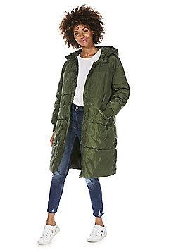 JDY Long Line Padded Coat - Khaki