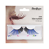 Stargazer False Feather Eyelashes No.62 Blue and Black with Pink, Green and Blue Feathers