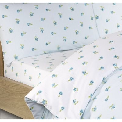 Blue Ditsy Floral Brushed Cotton Fitted Sheet - Single
