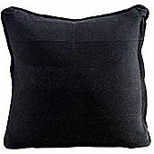 Homescapes Cotton Rajput Ribbed Black Cushion, 45 x 45 cm