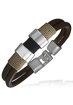 Men's Dark Brown Leather, Metal & Cord Surf Bracelet by Urban Male