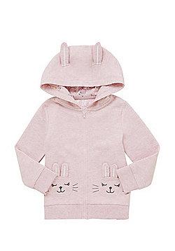 F&F Bunny Applique Zip-Through Hoodie - Pink