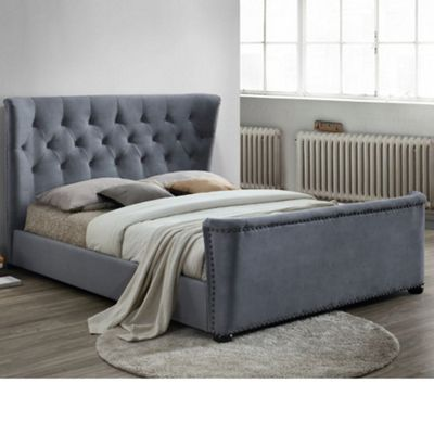 Happy Beds Barkley Velvet Fabric Winged Bed with Memory Foam Mattress - Grey - 4ft6 Double