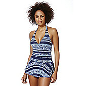 F&F Shaping Swimwear Tie Dye Print Swim Dress - Blue