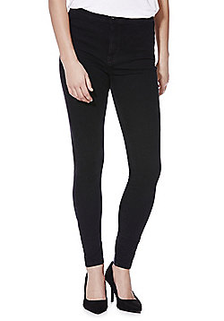 F&F Biker Seam Mid Rise Skinny Leg Jeans - Black wash