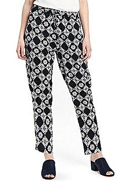 Wallis Petite Tile Print Trousers - Navy