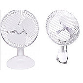 Knight 6 Inch Clip On Desk 2 in 1 Fan, 20W, White