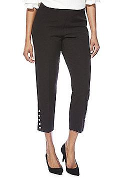 F&F Faux Pearl Hem Slim Fit Ankle Grazer Trousers - Black