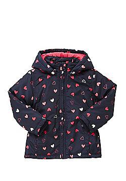 Name It Nitmello Heart Print Padded Jacket - Navy