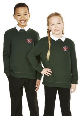 Unisex Embroidered Cotton Blend School Sweatshirt with As New Technology 7-8 years Green