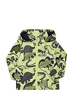 F&F Dinosaur Print Shower Resistant Hooded Mac - Lime green