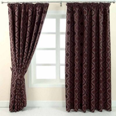 Homescapes Purple Jacquard Curtain Modern Wave Pattern Fully Lined - 90