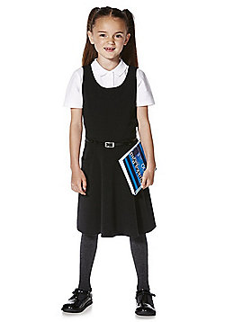 F&F School Soft Touch Pinafore with Belt - Black
