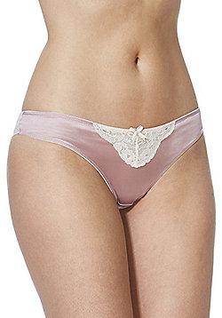 F&F Signature Lace Trim Silk Brazilian Briefs - Blush pink