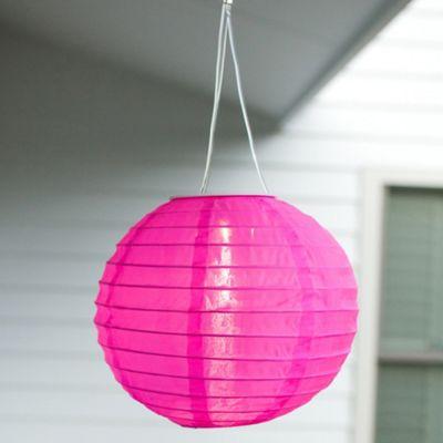 Pink LED Solar Hanging Chinese Lantern
