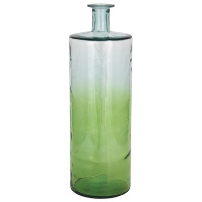 Spring Green & Clear Ombre Finish Rec Glass Bottle