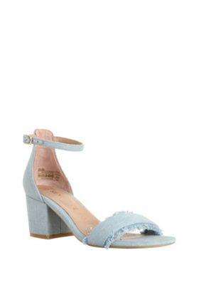 F&F Sensitive Sole Fringe Detail Heeled Sandals Denim Blue Adult 3
