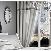 Catherine Lansfield Glamourous Diamante Bands Eyelet Curtains - White