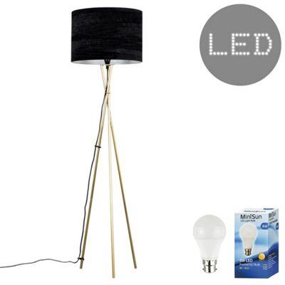 Camden Tripod LED Floor Lamp - Gold & Black