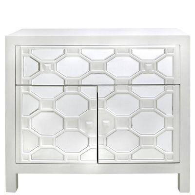 White Ricardo 1 Drawer 2 Door Cabinet