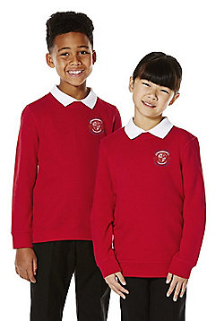 Unisex Embroidered Cotton Blend School Sweatshirt with As New Technology - Red