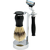 Nicholas Winter 3 Piece Black / Silver Shaving Set. Mach 3 Compatible