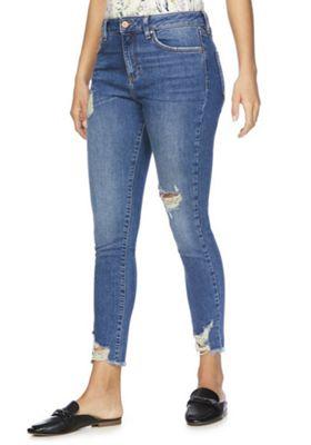 F&F Chewed Hem Mid Rise Skinny Jeans Mid Wash 10 Regular leg
