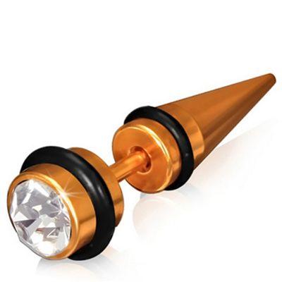 Urban Male Stainless Steel Orange Fake Ear Expander Plug Earring CZ Set 6mm