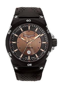 Men's Watch JG7800-12 - Black Leather Strap - Brown Dial - Jorg Gray