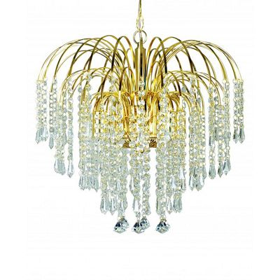 4 light clear crystal effect fountian drop ceiling pendant with a gold finish frame