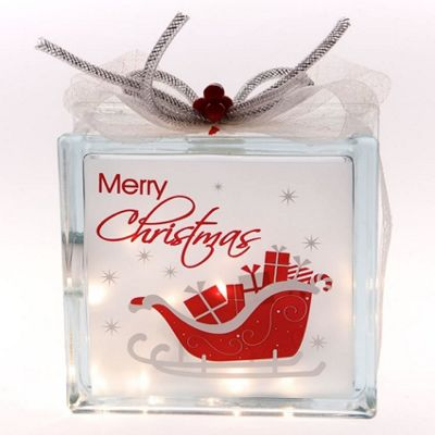 Merry Christmas Light Up Glass Box